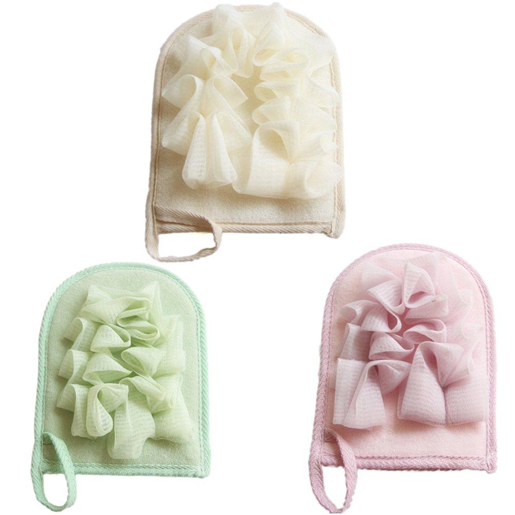 Healifty Bath Exfoliating Mitt Glove Bath Pouf Mesh Brushes Loofah Sponge Exfoliating Pad (Random Color)