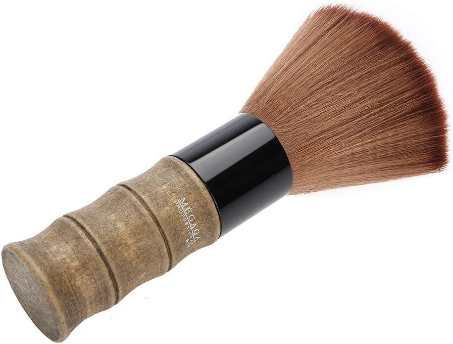 Brocha de Peluquería - Cepillo de limpieza, Cuello plumero, Cepillo de mango de madera, Herramientas de limpieza del cabello, para Eliinar los Residuos del Cabello