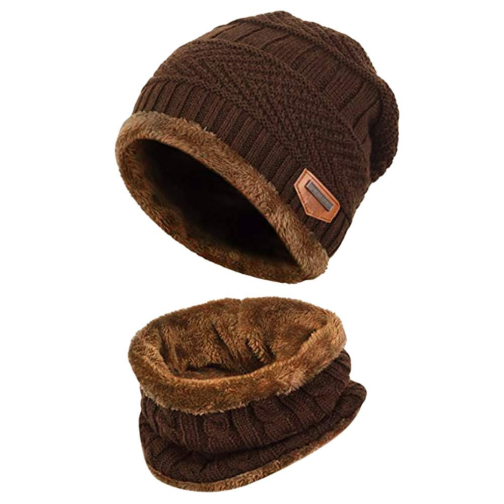 iDWZA 2-Pieces Winter Casual Hat Scarf Set Warm Knit Hat Thick Knit Skull Cap