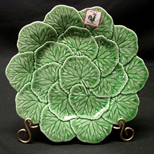 Cabbage Leaf Salad - Bordallo Pinheiro Majolica Green Geranium Leaf Salad Plates, Set of 4