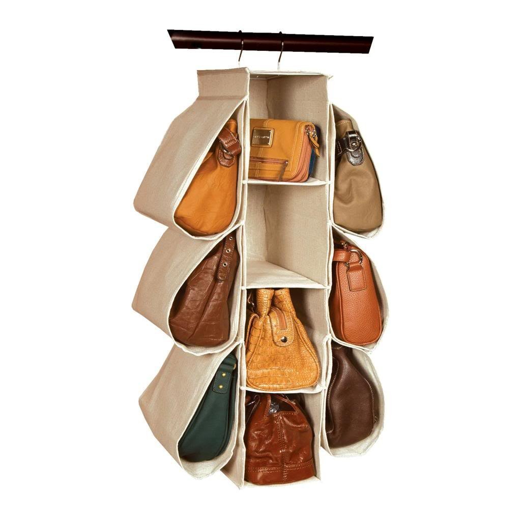 LONGTEAM Hanging Purse Handbag Organizer Homewares Nonwoven 10 Pockets Hanging Closet Storage Bag HANGINGBAG-BEIGE-US