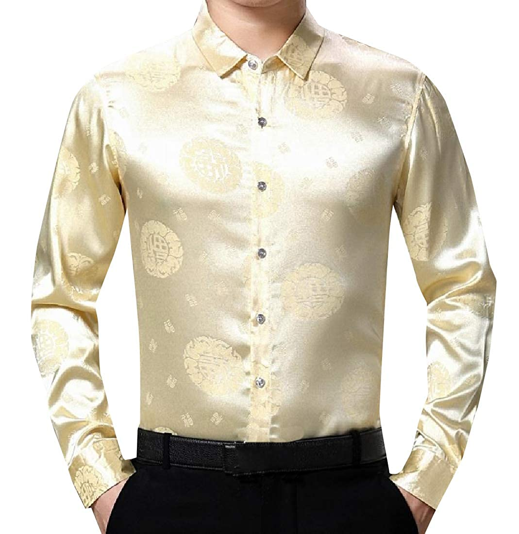 SportsX Men Easy Care Classic Fit Charmeuse Chinese Style Long Shirt