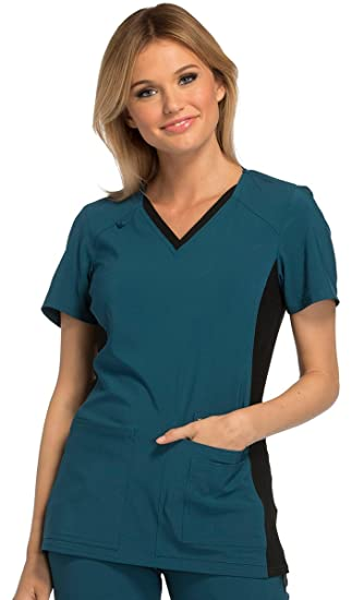 16f446653d9 Cherokee Iflex by Women s V-Neck Knit Panel Solid Scrub Top XX-Large  Caribbean Blue Black  Amazon.in  Clothing   Accessories