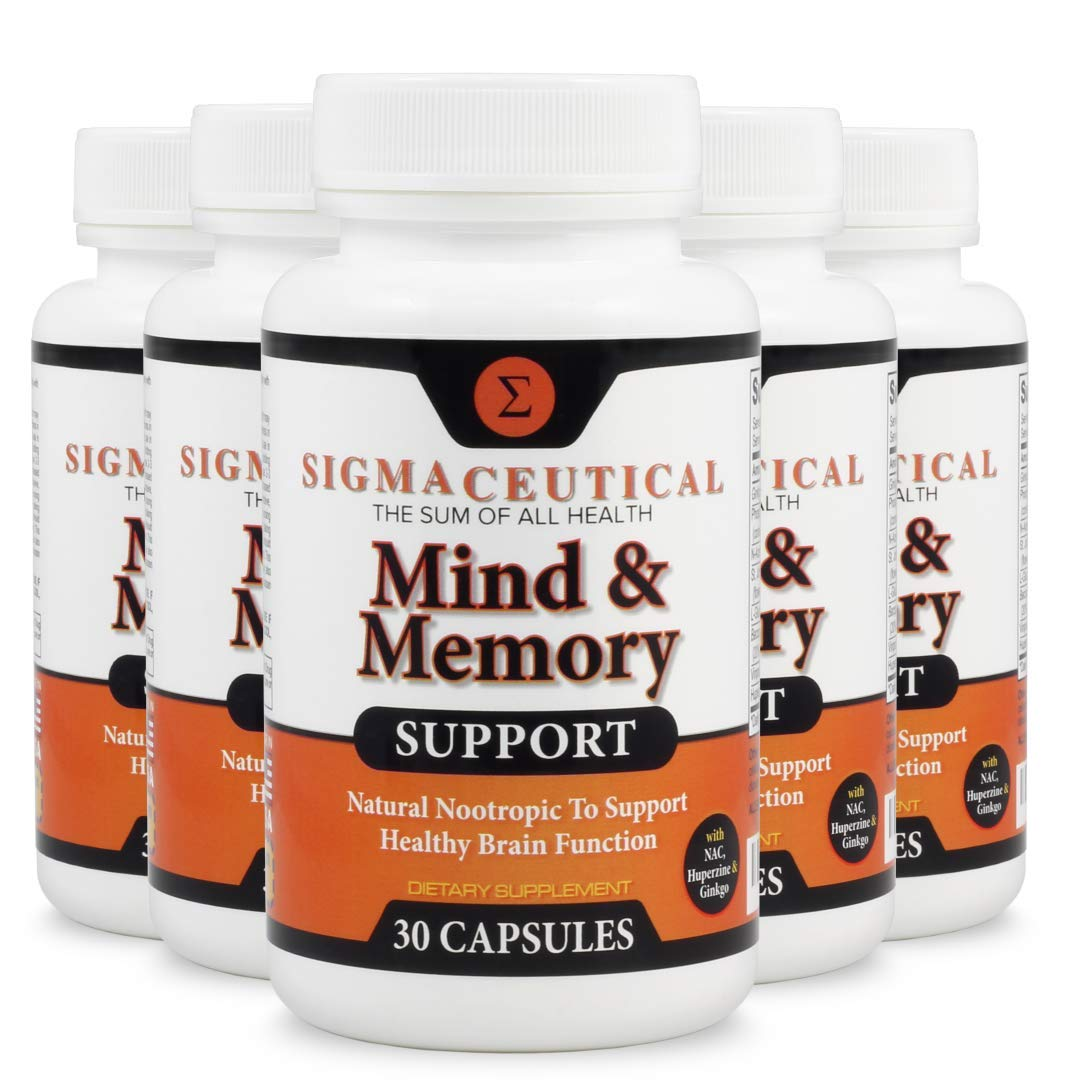 5 Pack of Memory Support Supplement and Brain Booster, Natural Nootropic Mental Focus - 30 Capsules Each
