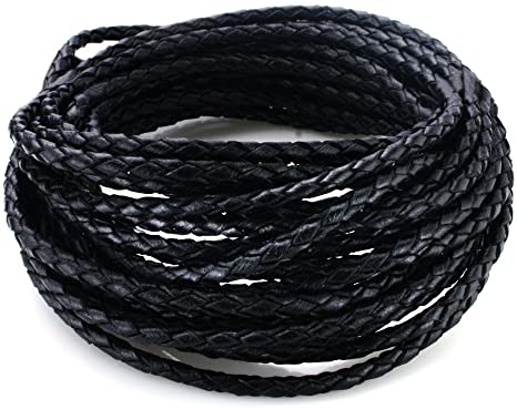 Black, 5 Meters Cord Necklace 3.0mm Round Folded Bolo Leather Cord for Necklace Bracelet Jewelry Making