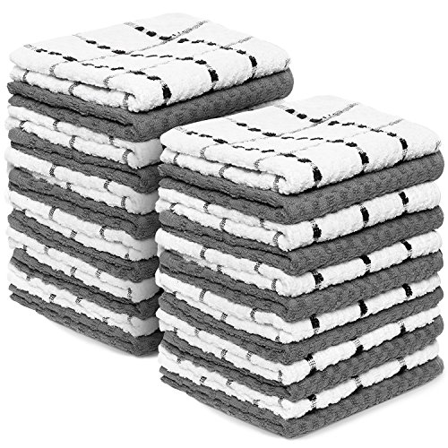 Royal Kitchen Towels, 24 Pack - 100% Soft Cotton -15'' x 25'' - Dobby Weave -Great for Cooking in Kitchen and Household Cleaning (24-Pack Cotton) by Royal