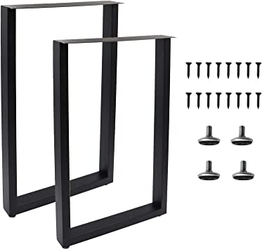 Modern Desk Legs Multiple Uses for Dinning Table Coffee Table Metal Table Legs 28Hight 17.7 Wide Heavy Duty Furniture Legs Rectangle Shape, 2pcs -Black