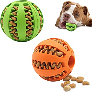 Dog Toy Ball,Non-Toxic bite-Resistant Natural Elastic Rubber Ball 2 Pack,Medium Interactive Dog Toy ,pet Food Treatment feeders, Chewing Teeth Cleaning Balls, Exercise Games, IQ Training Balls