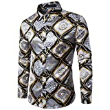 Shirt For Men, Clearance Sale!! Farjing Men's Casual Personality Slim Long Sleeve Printed Shirt Top Blouse (M,Yellow)