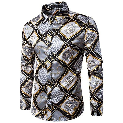 Shirt For Men, Clearance Sale!! Farjing Men's Casual Personality Slim Long Sleeve Printed Shirt Top Blouse (2XL,Yellow) by Farjing