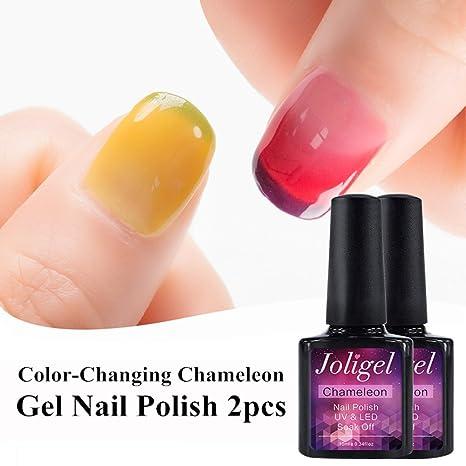 Joligel 2x Esmaltes Semipermanentes Uñas Cambio de 3 Colores Térmico Gel UV LED Shellac Manicura Pedicura