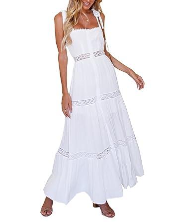 9449a0ece82e84 BMJL Hohe Teilung Maxi Boho Strand Taste hoch Weißer Spitze In voller Länge  Sommerkleid für Frauen