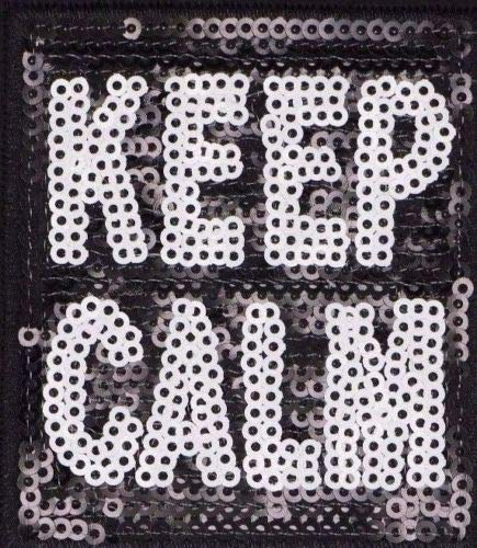 (Keep Calm Patch,Sequined Keep Calm Applique Sequins,H 3 inches x W 2.75 inches (SKC-346))