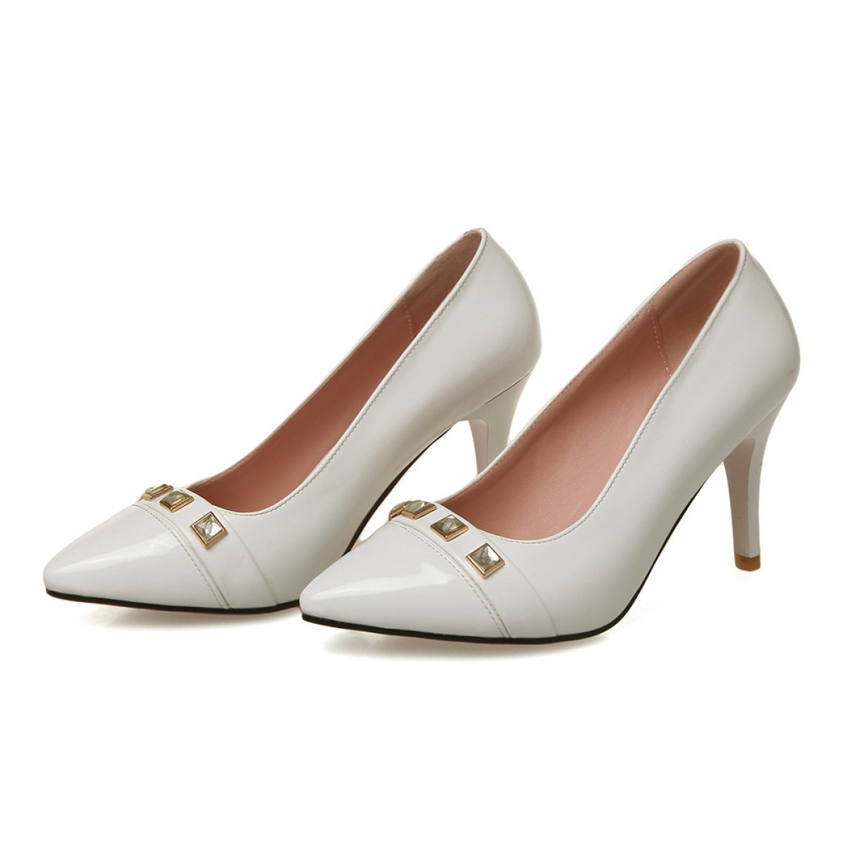 GSHGA Femmes Talons Chaussures Pointues Talons Chaussures 19276 Rivets Chaussures white 76c93eb - shopssong.space