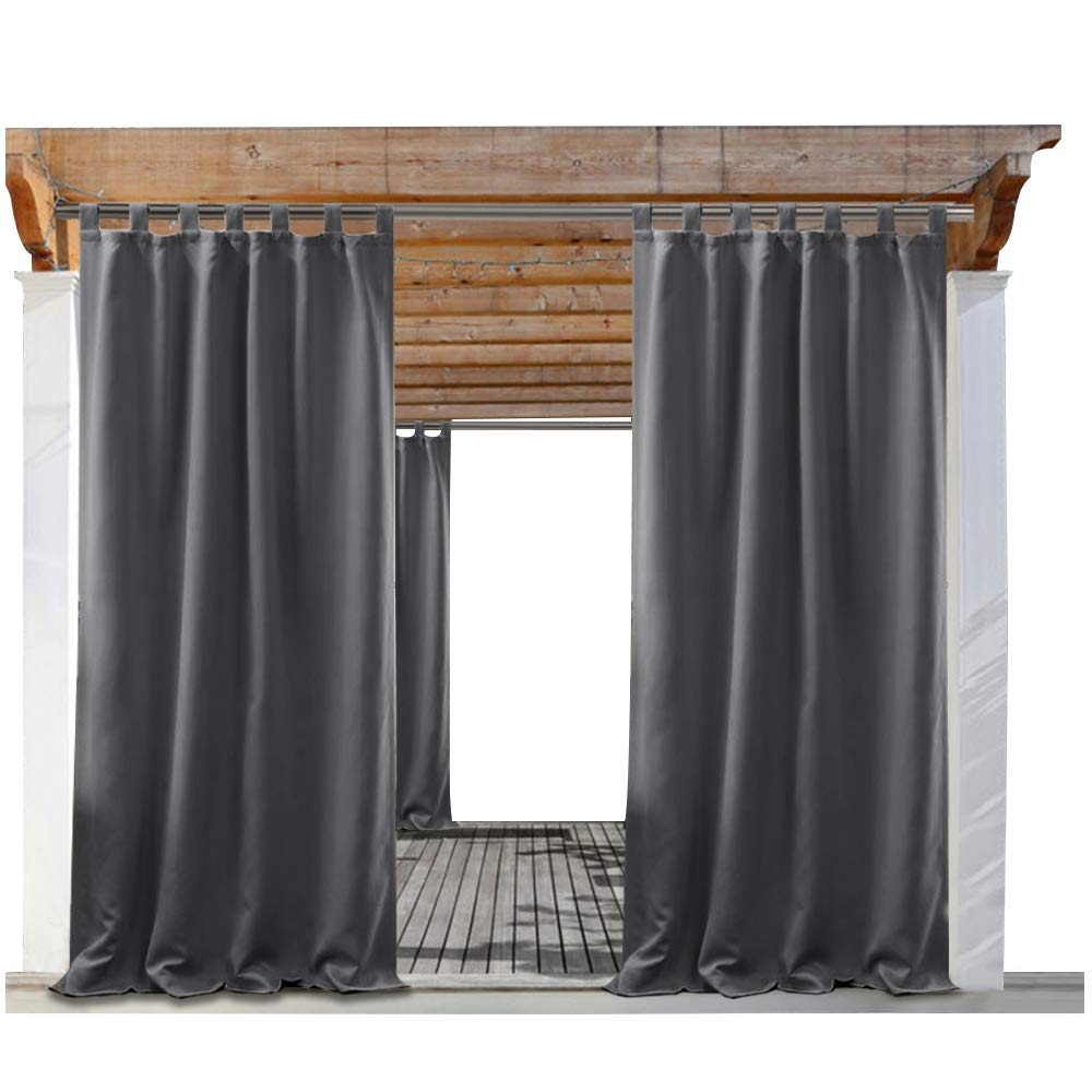 PONY DANCE 108'' Outdoor Curtain - Gray Panels Indoor Outdoor Use Waterproof Fabric Tab Top Fade Resistant Blackout Drapes, 52 Wide by 108 in Long, Grey, 1 Pc