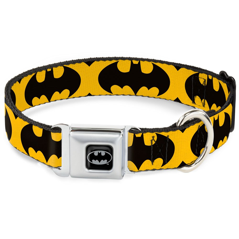 Buckle-Down Seatbelt Buckle Dog Collar Bat Signal-5 Black Yellow Black 1  Wide Fits 9-15  Neck Small