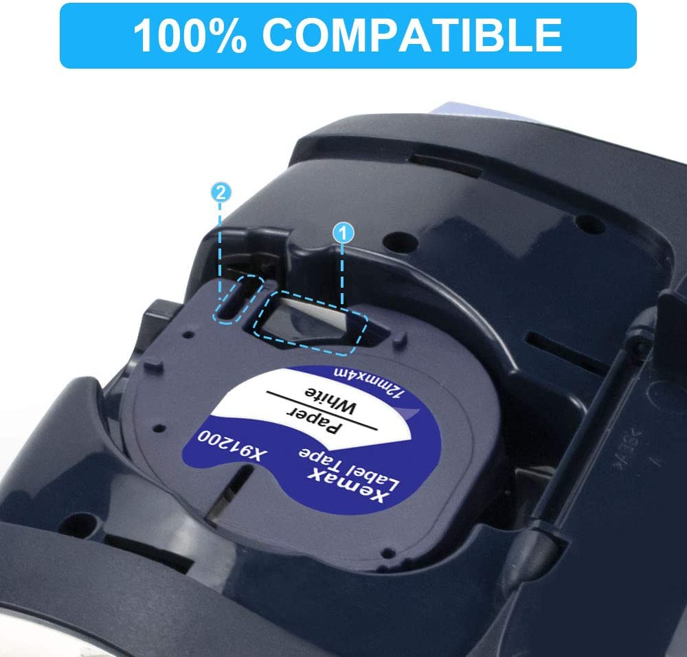 3-Pack Xemax Compatible Pl/ástico Cinta 12mm x 4m Reemplazo para Dymo LetraTag 12267//S0721530 Negro sobre Transparente Cintas para Dymo LetraTag LT-100H LT-100T LT-110T QX 50 XR 2000 Plus Etiquetadora