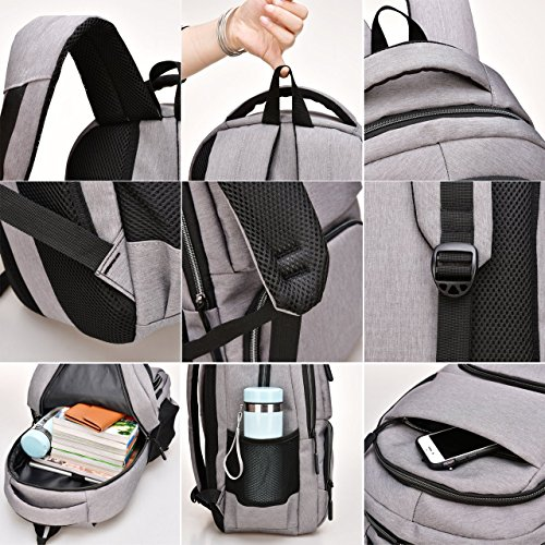 Travel Laptop Backpack, Business Laptop Backpacks USB Charging Port Headphone Interface,Water Resistant College School Computer Bag Women & Men Fits 15.6 inch Laptop Notebook(Gray) by MEWAY (Image #6)