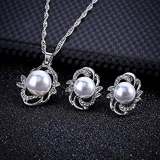 ZHOUBINBIN La Mode Japonaise et coréenne Boucles d'oreille Collier Pendentif Perle Feuille Fleur mariée Robe de Mariage Cadeaux de Vacances