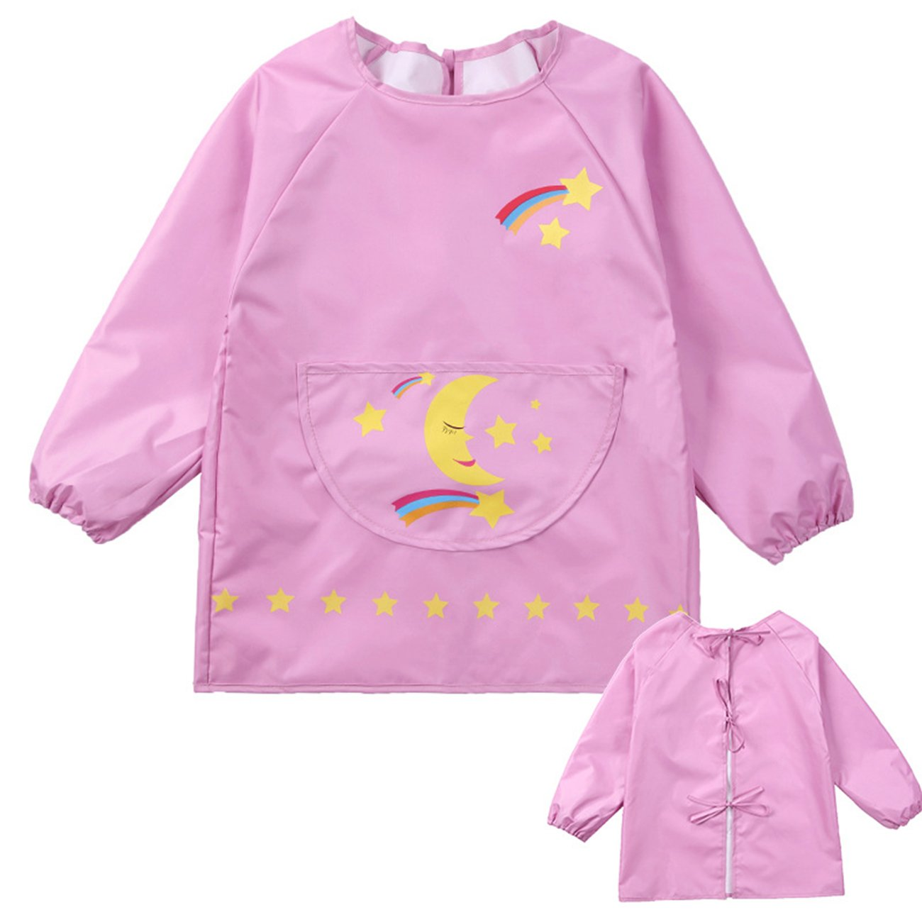 Lemonkid® Children's Waterproof Painting Clothing Fashion Cartoon Kids Protective Smock,Pink1,M/Height:100-115cm/fit 4-6T