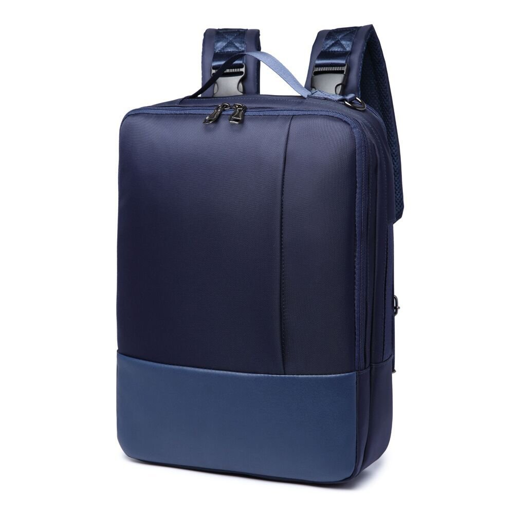 14/15.6 inch Multi-function Convertible Laptop Messenger Computer Bag Single-shoulder Backpack Briefcase Oxford and PU Leather Waterproof Multi-Compartment For iPad Pro Macbook Men and Women,Blue