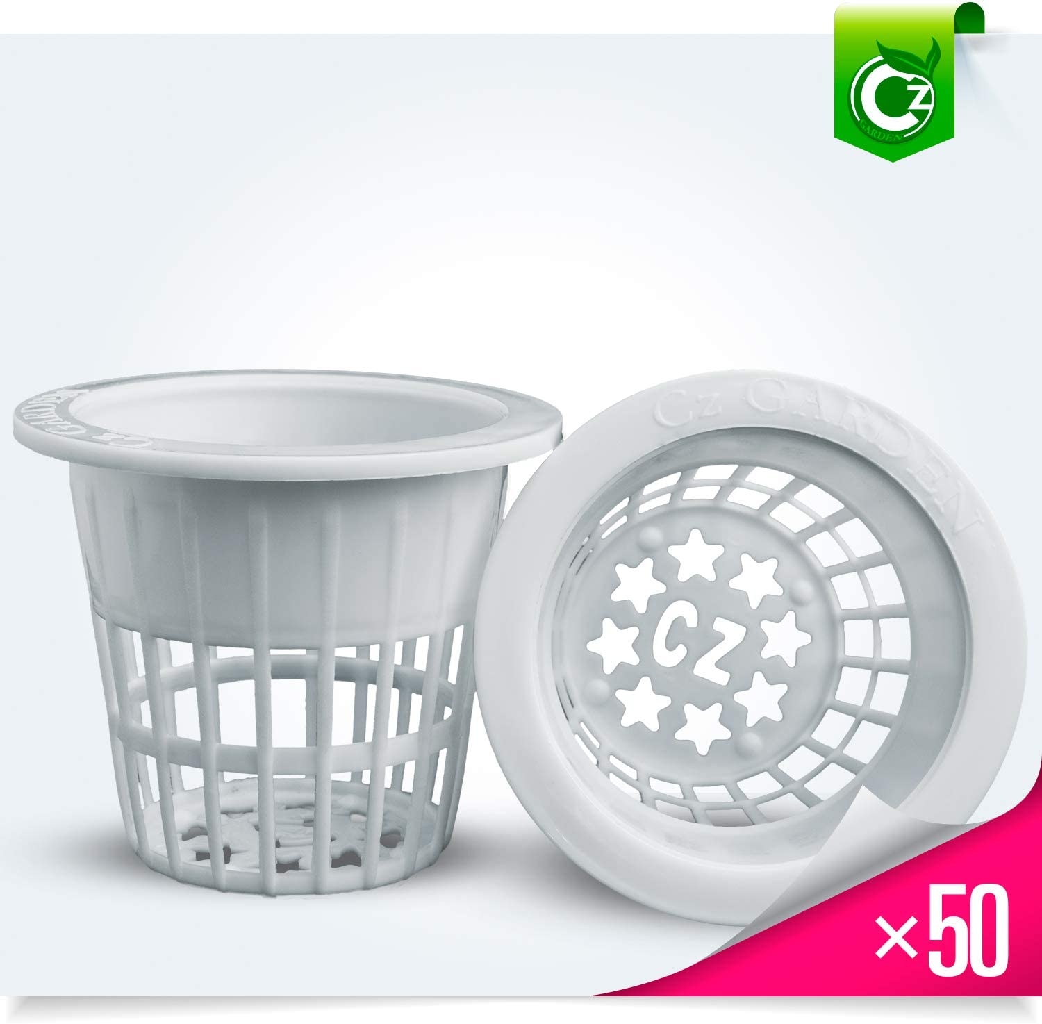2 inch Net Pots Cups Heavy Duty Round Wide Rim Design – Orchids Aquaponics Hydroponics Slotted Mesh Cz Garden All Star – 50 White