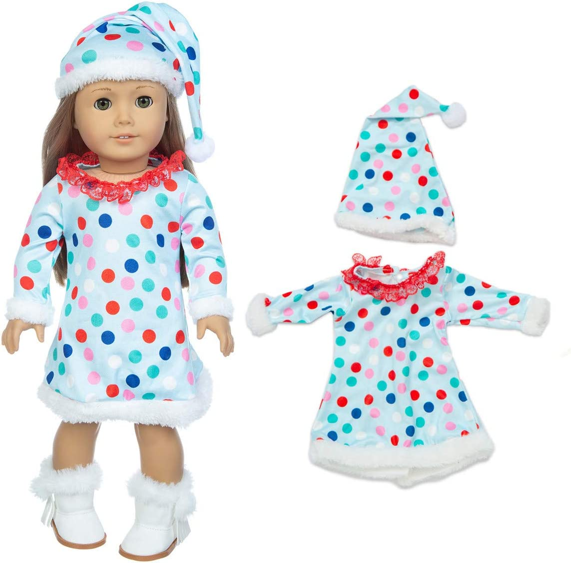 JELEUON 3 pcs Set Christmas Clothes Dress with Hats Scarfs for Outfits for 16-18 inch American Girl Doll Accessory Toy Gift