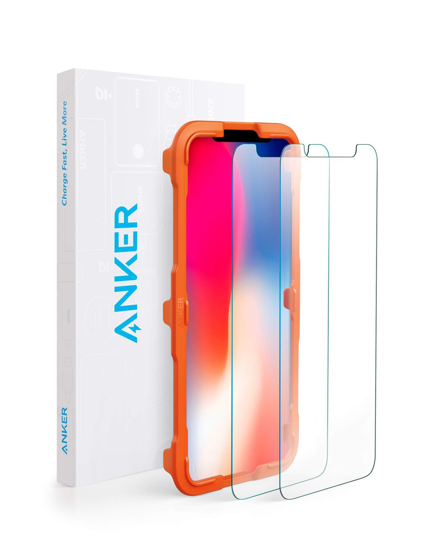 【2枚セット / 専用フレーム付属】Anker GlassGuard iPhone XS/X用 強化ガラス液晶保護フィルム 【3D Touch対応 / 硬度9H / 簡単貼付】
