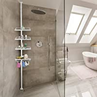 Deuba Estantería telescópica de baño ducha Blanca estantes