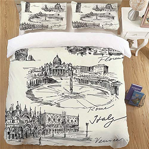 (Pattern Bedding Set Duvet Cover Set,King Size,3pc for Children's Bedroom Sketchy Travel The World Themed Historical Italian Landmarks Venice Rome Florence Pisa Decorative Black Cream)