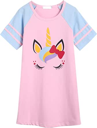 Bricnat Camisón para niña de manga corta, de algodón, cuello redondo, pijama con estampado de unicornio
