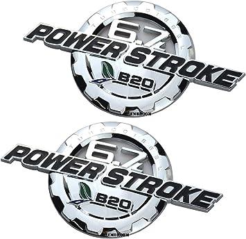 2 NEW Power Stroke Diesel V8 Door Nameplate Emblem White /& Matte Black