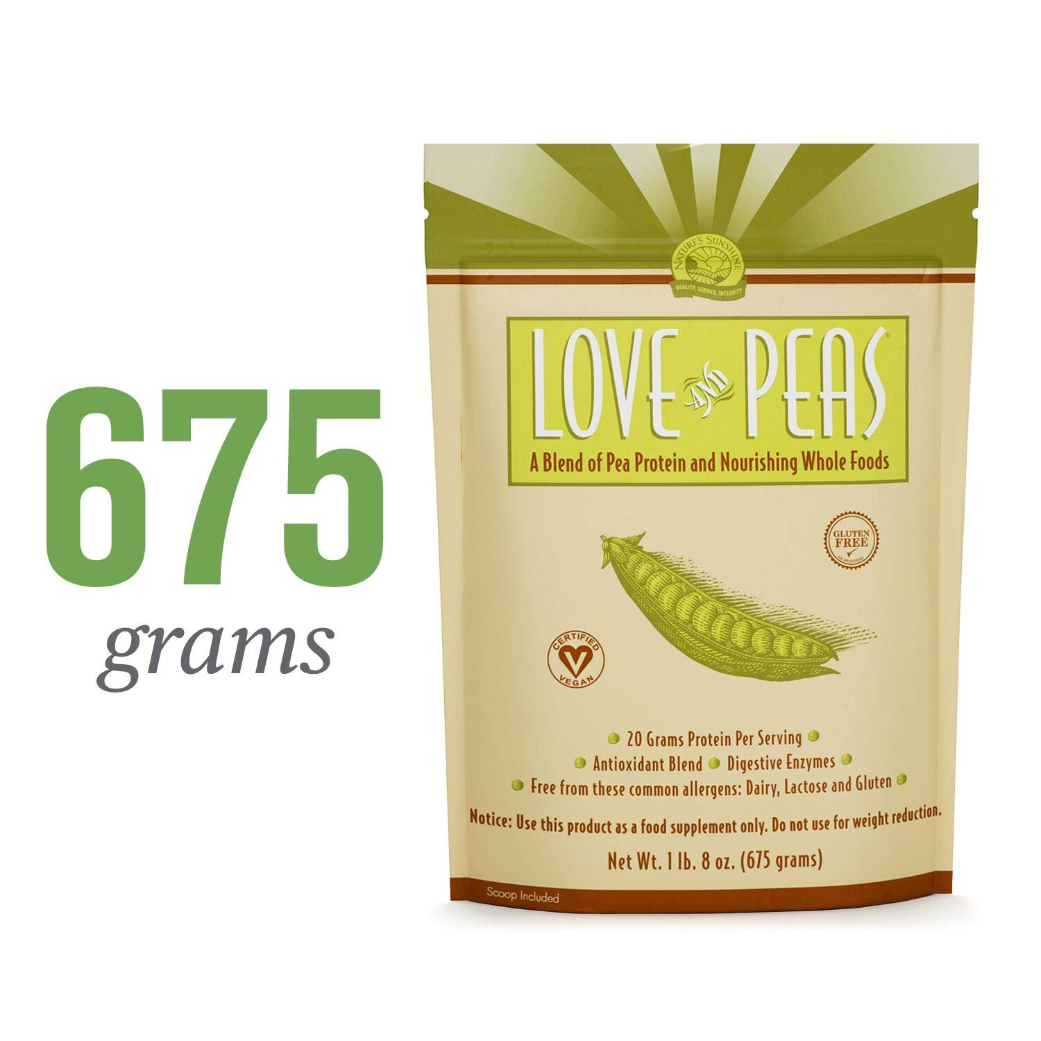 Nature s Sunshine Love and Peas, 675gr. Bag Vegan Protein Powder with Natural Pea Protein and Other Nourishing Whole Foods and Nutrients