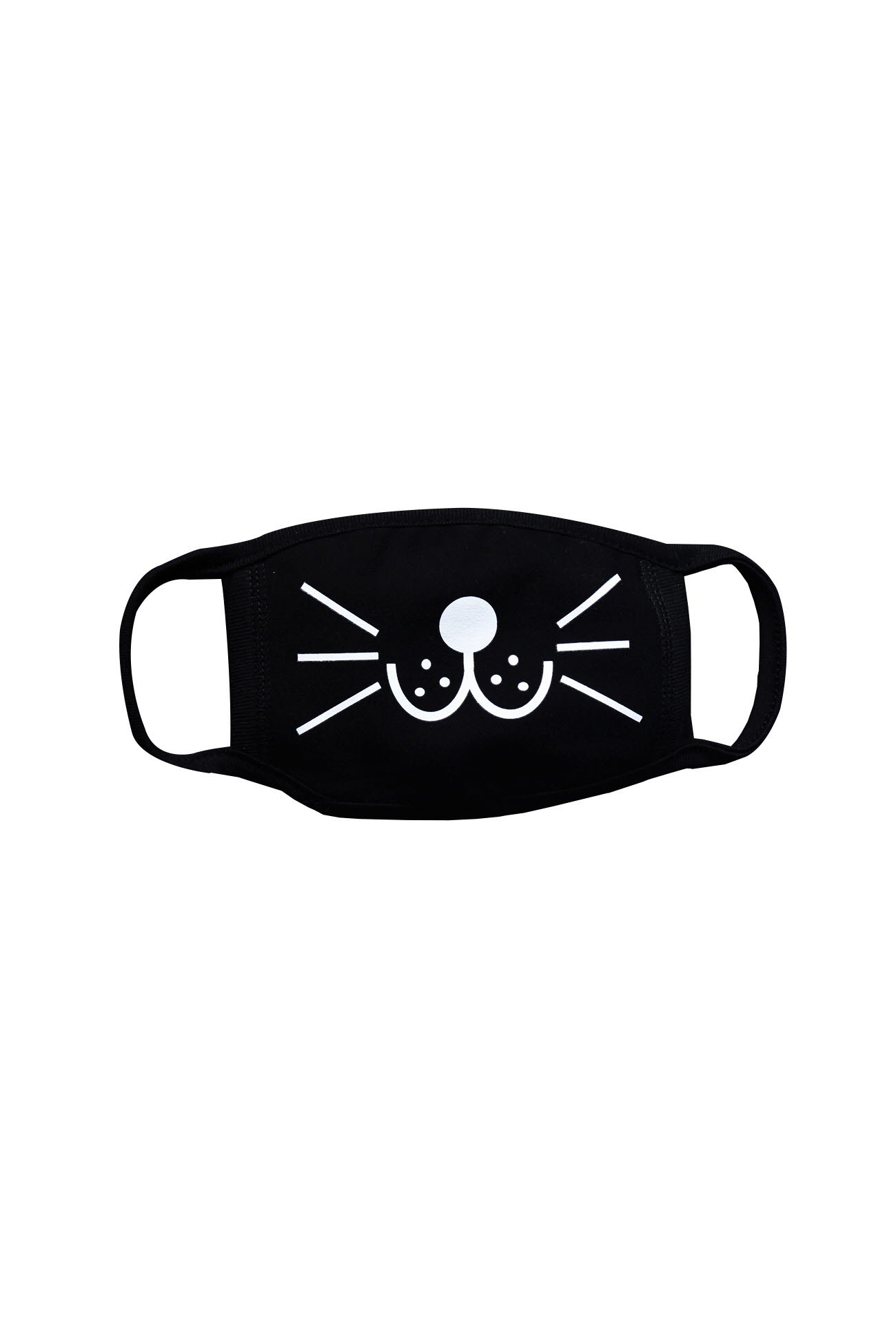 ByTheR Cotton Chic Black Skull Cute Smile Design Printed Face Cover Mouth Mask Cat