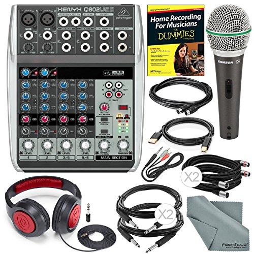 Behringer Xenyx Q802USB Premium 8-Input 2-Bus Mixer and Deluxe Studio Bundle w/ Dynamic Mic + Closed-Back Headphones + Cables + Home Recording Guide + Fibertique