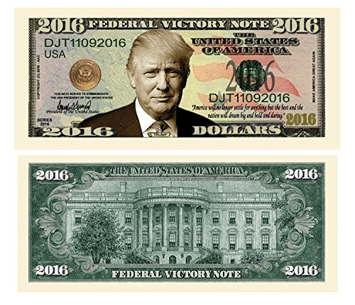 American Art Classics Pack of 5 - Donald Trump 2016 Federal Victory Limited Edition Presidential Dollar Bill from American Art Classics