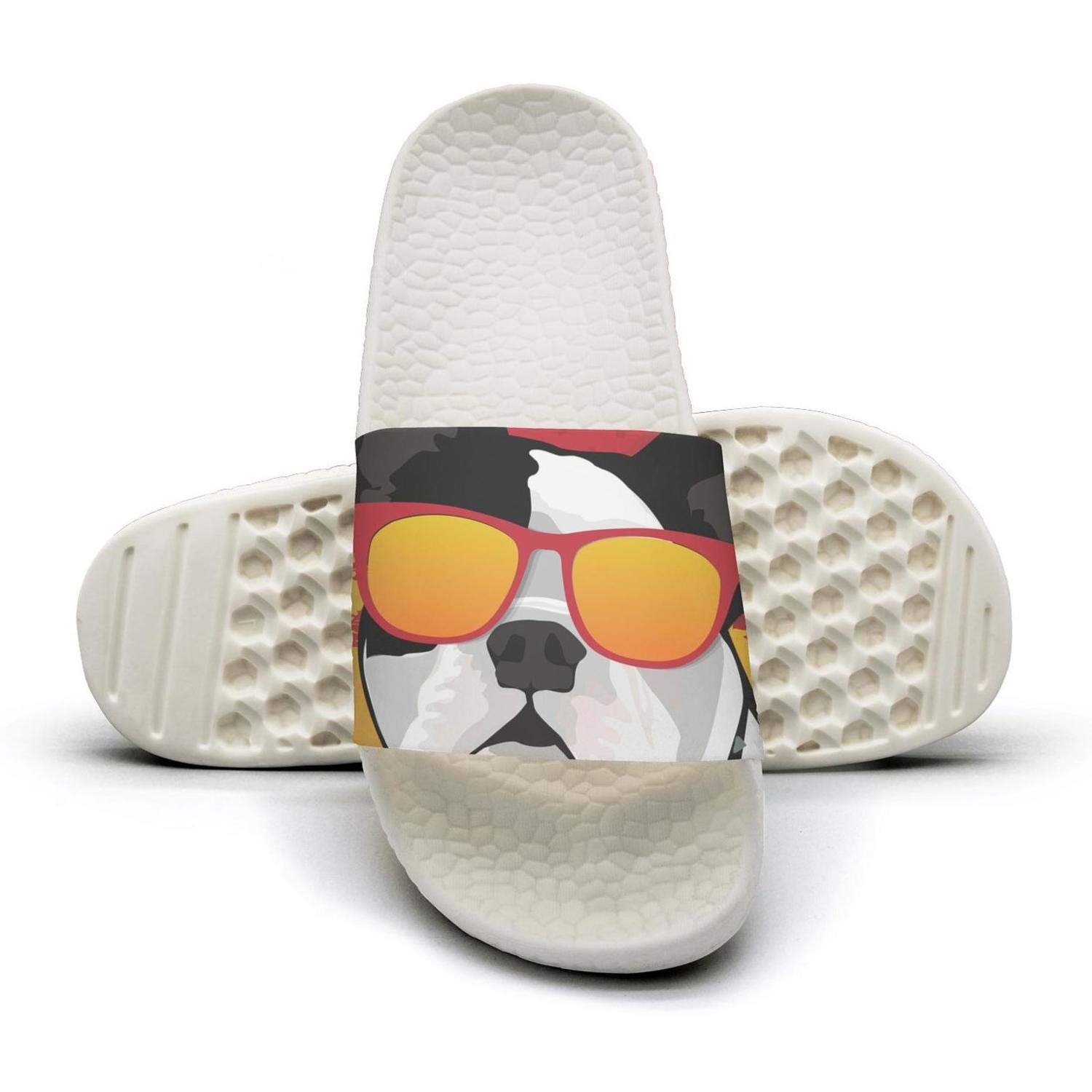 french bulldog Wearing colored glasses cool Mens Fits Good Slides Low Top Casual