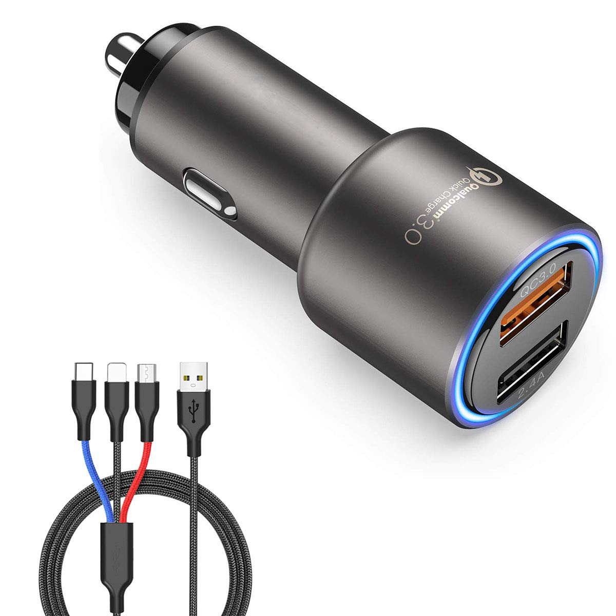 ZDZHU Car Charger - 30W Metal Dual Ports USB Fast Car Adapter,Smart QC 3.0 Quick Car Phone Charger for iPhone Xs X Max XR 8 7 6S Galaxy S9 S8 S7 S6,with 3 in 1 Cable