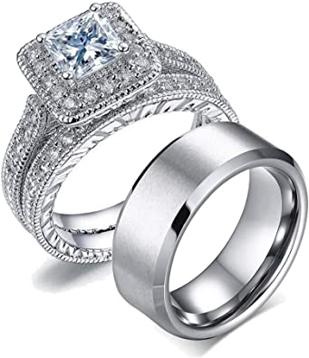 Amazon.com: Anillo de pareja para novia, de acero inoxidable ...