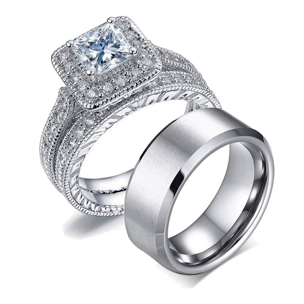 LOVERSRING Couple Ring Bridal Set His Hers Women 10k White Gold Filled AAA Cz Men Stainless Steel Wedding Ring Band Set