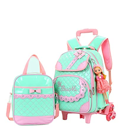 ec6ce8fb0893 Meetbelify Rolling Backpacks For Girls School Bags Trolley Handbag With  Lunch Bag Style B-Green