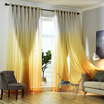 Buy Tulle and Blackout Curtains Set, Double Layer Gradient ...