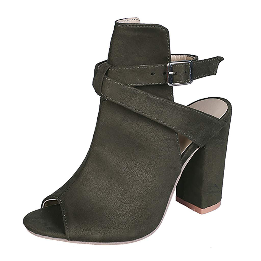 Women's Sandals Open Toe Buckle Ankle Strap Cut Out Chunky Heel Office Casual Dressy Ankle Boot (Army Green, Size(CN):42/US:8.5)