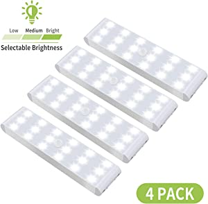 LED Closet Light, 18-LED Dimmable Motion Sensor Under Cabinet Light Rechargeable Battery Wireless Stick on Anywhere Dimmer Night Light Bar Safe Lights for Wardrobe Stairs Bedroom Hallway (4 Pack)