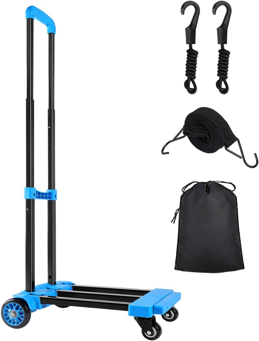 KEDSUM Folding Hand Truck, 70 Kg/155 lbs Heavy Duty 4-Wheel Solid Construction Utility Cart Compact and Lightweight for Luggage, Personal, Travel, Auto, Moving and Office Use