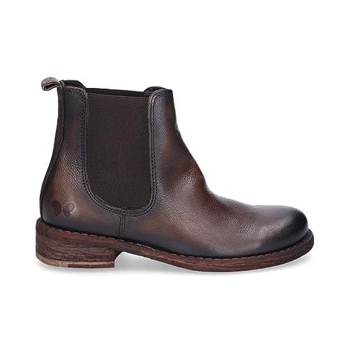 Felmini Mujer A578brown Marrón Cuero Botines: Amazon.es: Zapatos y complementos
