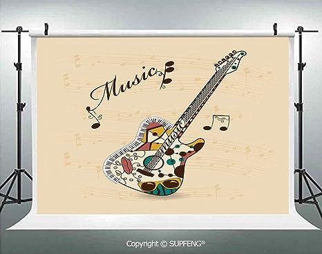 Fondo Abstracto Funky Guitarra Instrumento melodía Notas Musicales ...