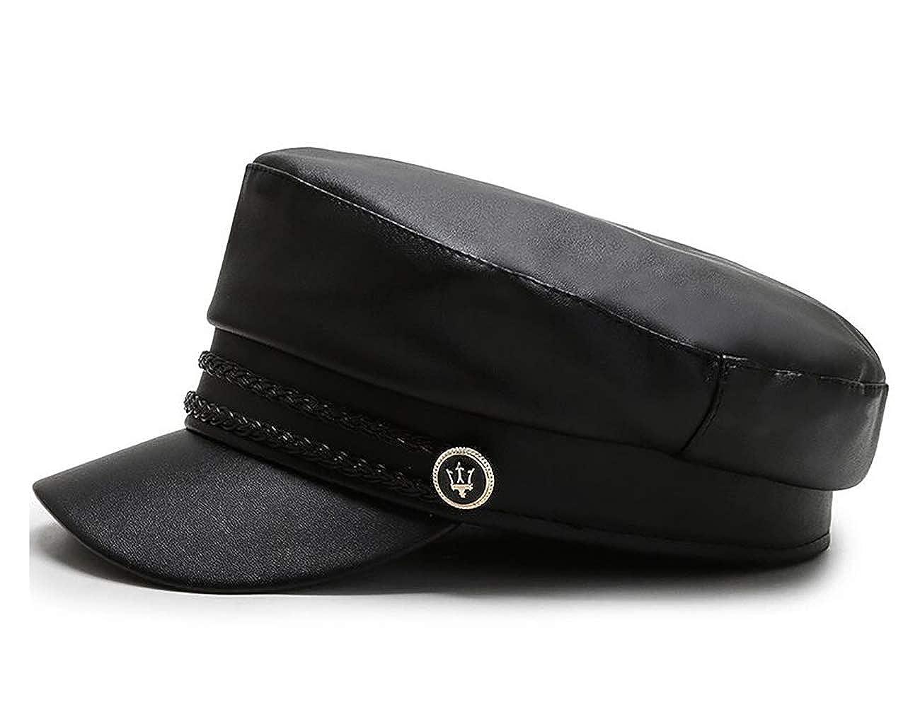 Mariner Style Flat Cap Women PU Leather Beret Newsboy Cap Barge Fiddler Cap