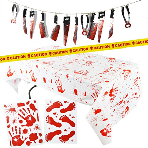 Halloween Decorations For A Party (Spooktacular Creations 5 Pieces Halloween Party Decoration Set Including Bloody Tablecover, Weapon Garland, Bloody Clings and Caution Tapes)