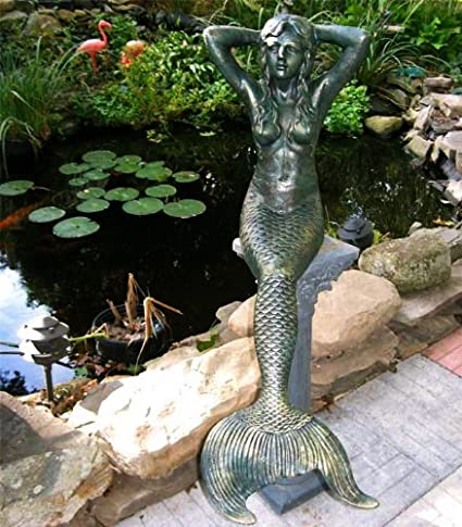 48u0026quot; Sitting Sunning Mermaid Statue Iron Verdigris NEW